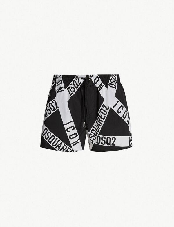 Dsquared 2 Black Icon Tape Swim Shorts